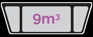 9m3 skip size